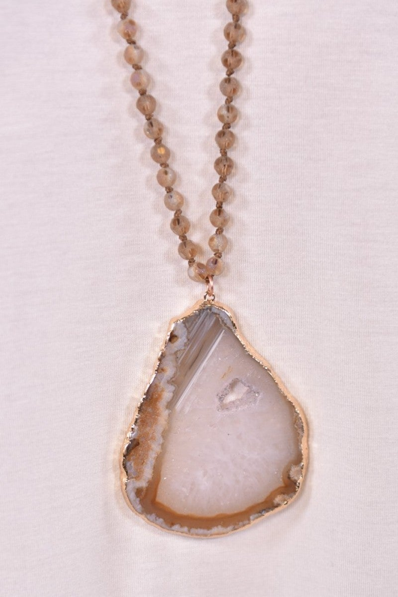 Beige Natural Stone Necklace
