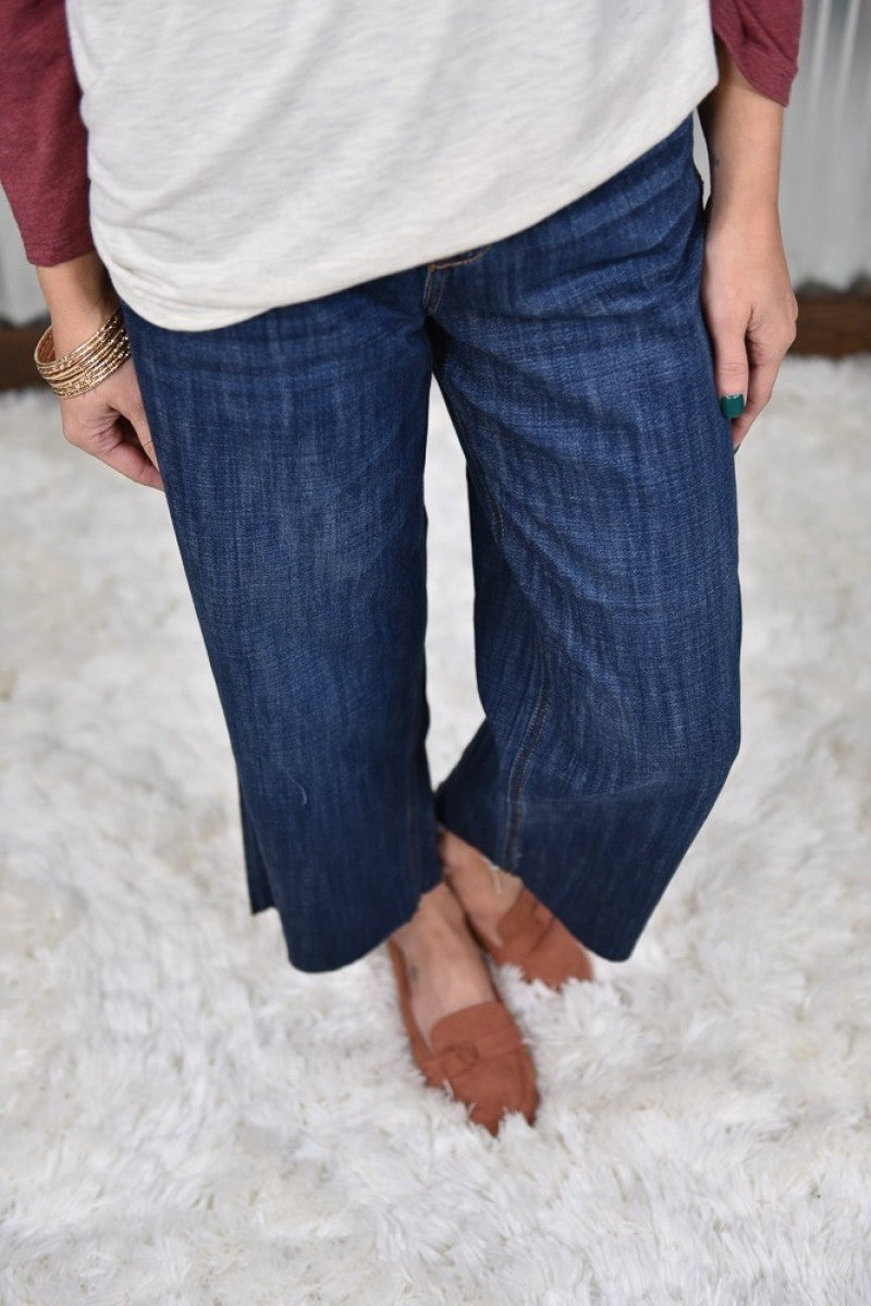 Cello High Rise Crop Wide Leg Jeans
