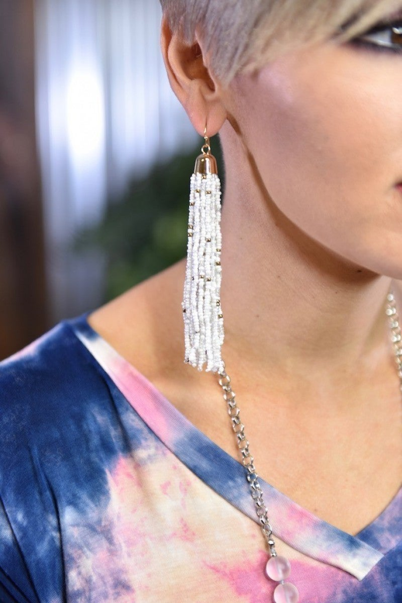 White Multi Bead Tassel Earrings