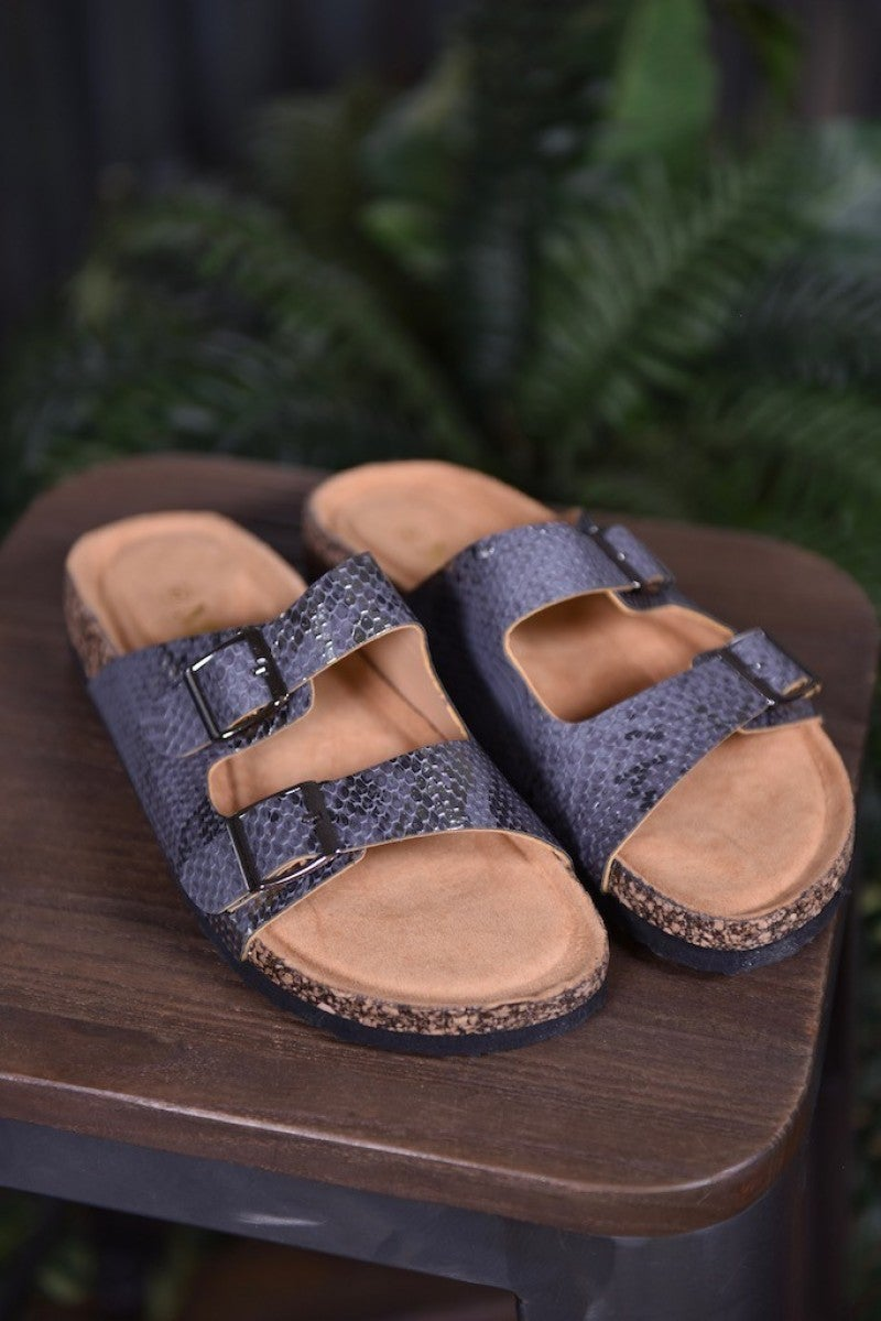 CLEARANCE Pewter Snake Broadwalk 4 Sandals