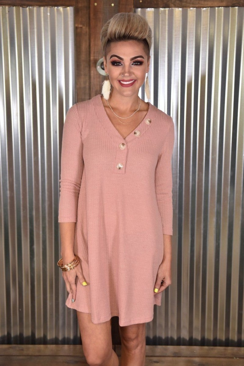 Mauve Faux Button Shift Dress