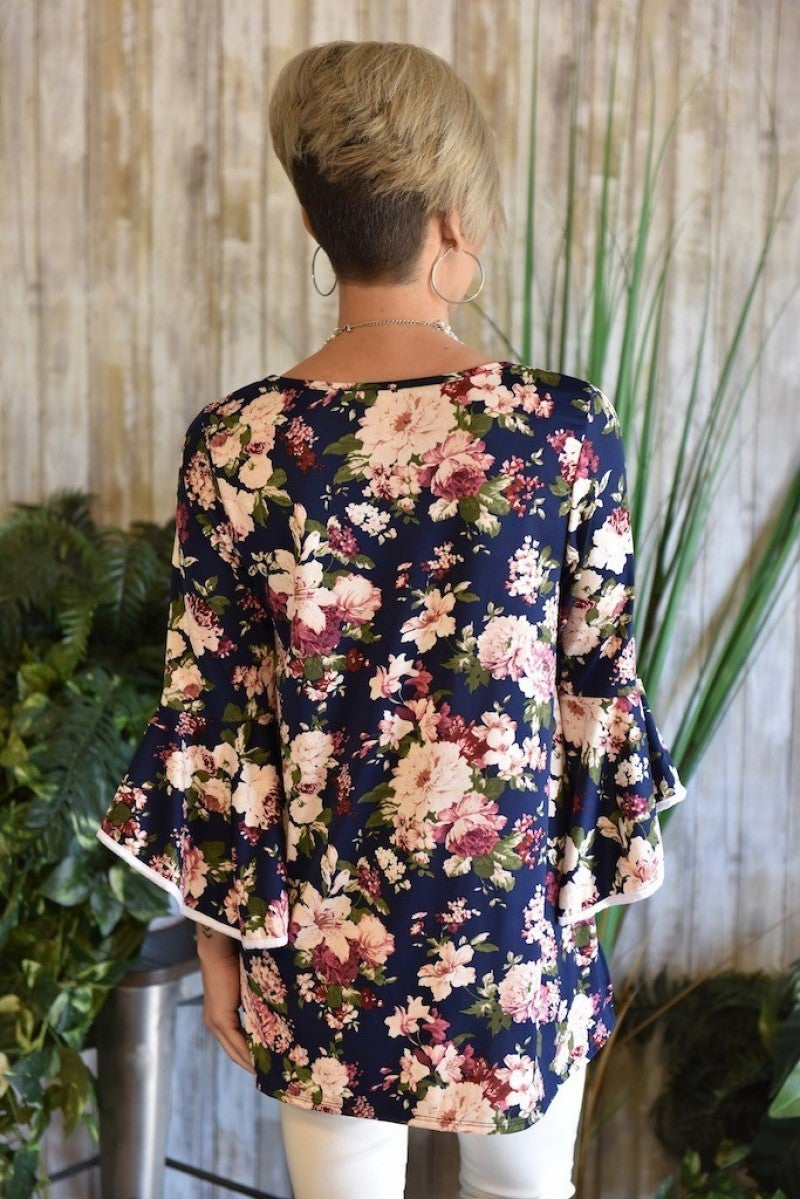 CLEARANCE Navy Floral Bell Sleeve Top