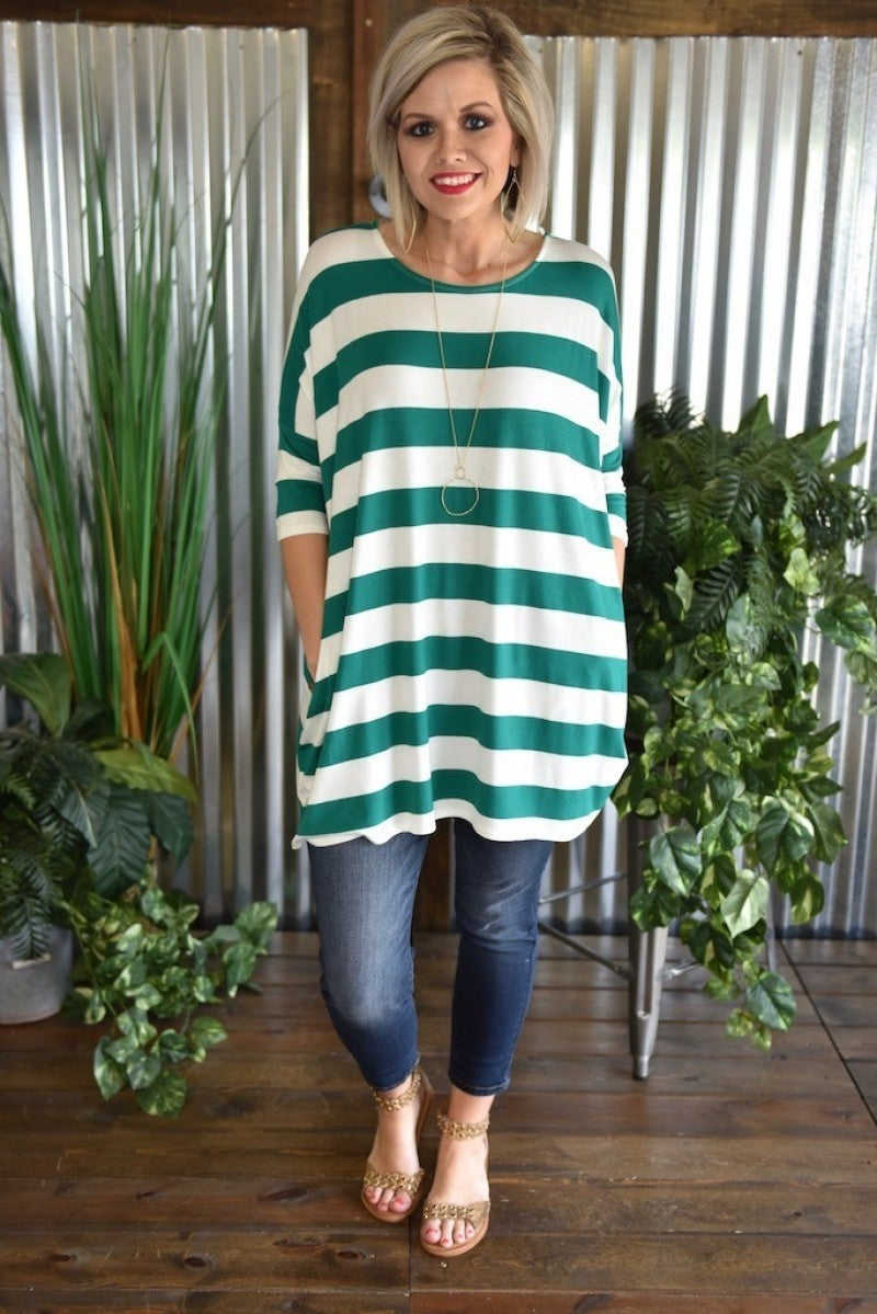 CLEARANCE Striped 3/4 Sleeve Oversized Tunic