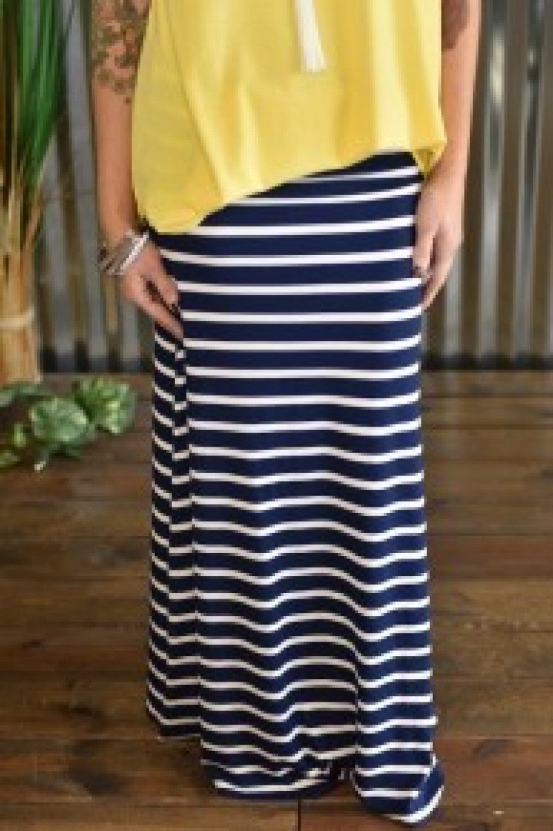 Navy Striped Maxi Skirt