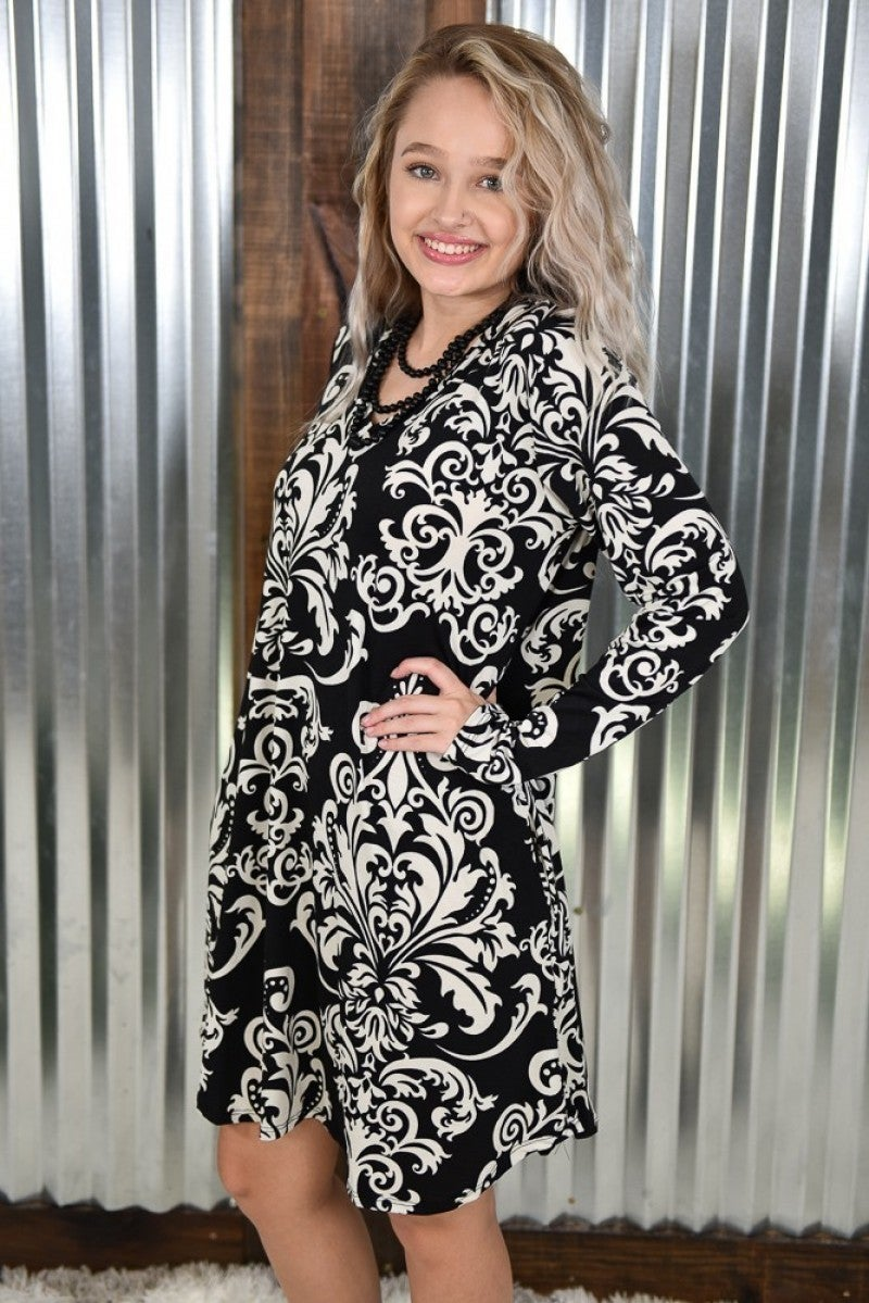 Black & Ivory Damask V Neck Dress