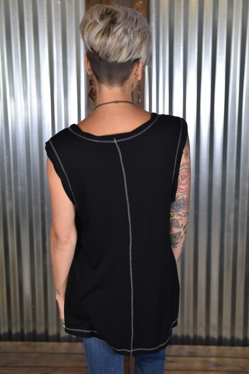 Black Reverse Stitch Top
