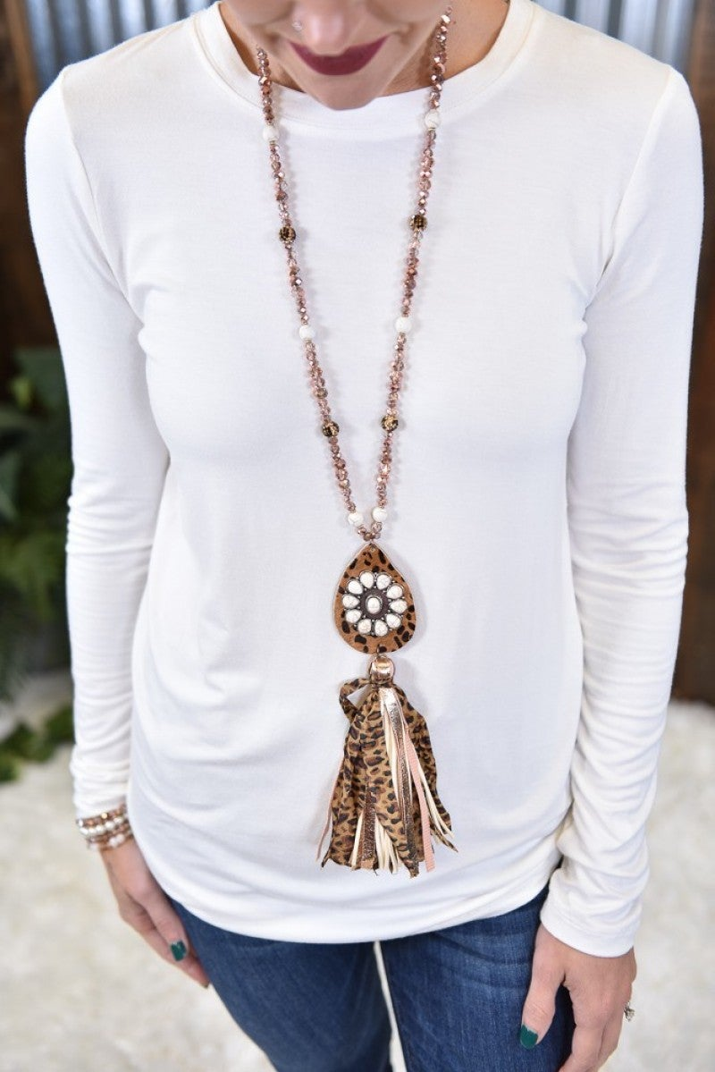 Wildest West Leopard Tassel Necklace