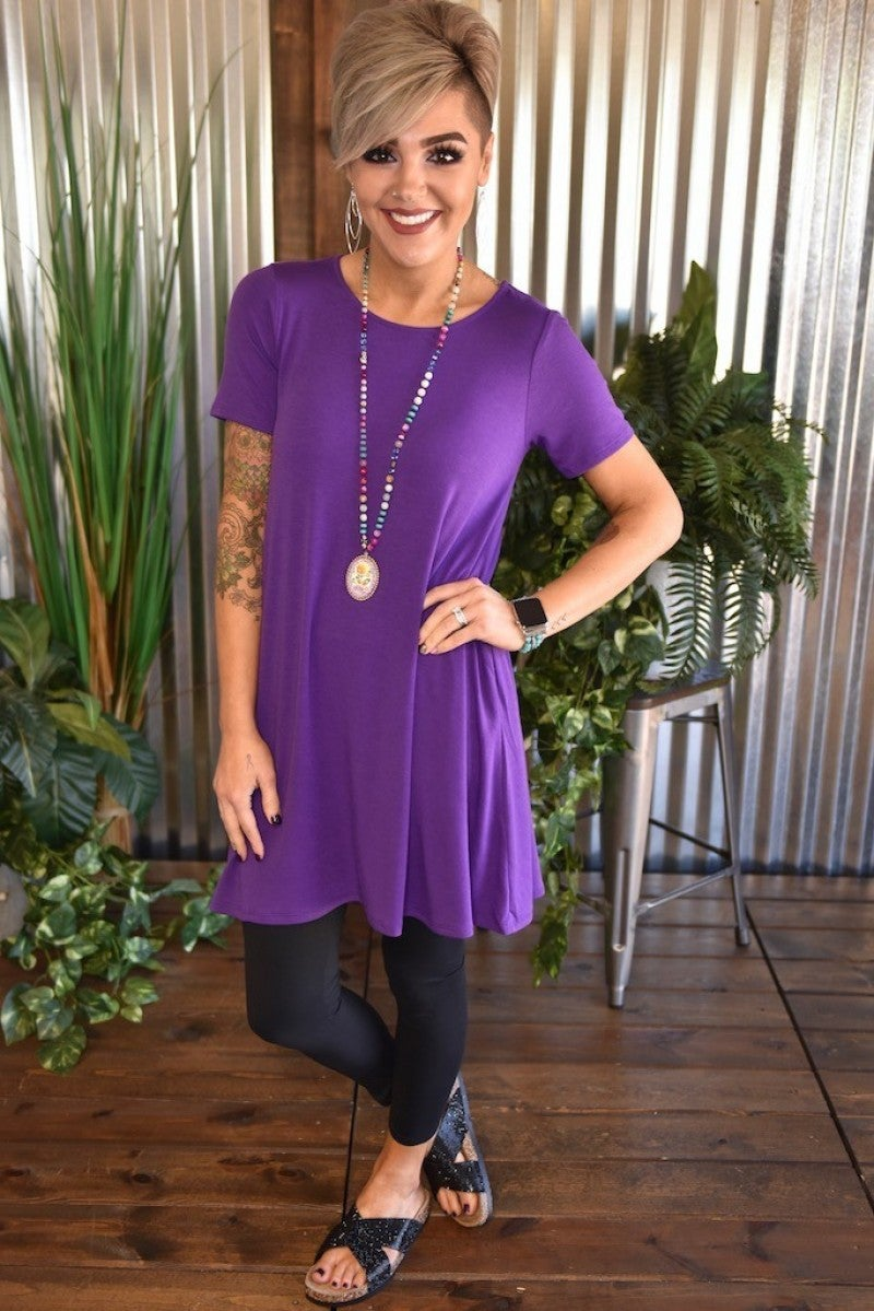 Purple Flared Top with Pockets