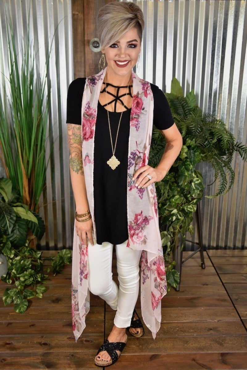 Rose McKenna Long Floral Vest