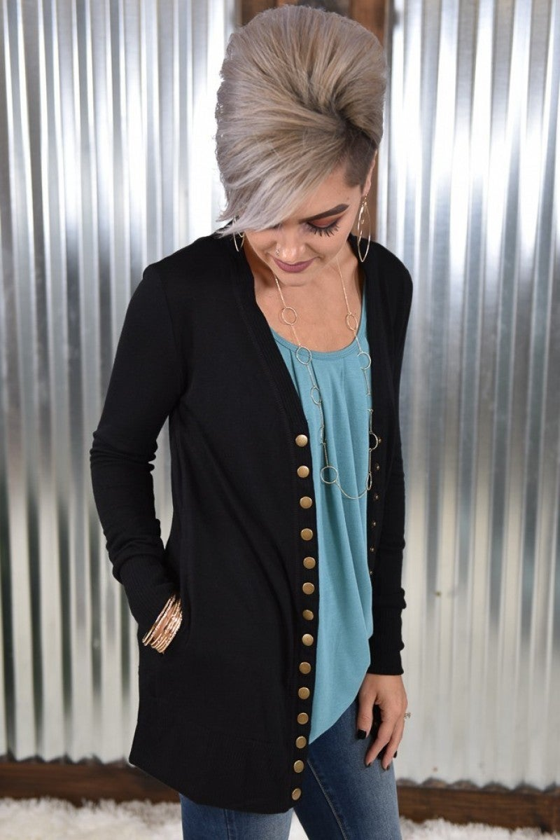 Black L/S Snap Cardigan with Pockets