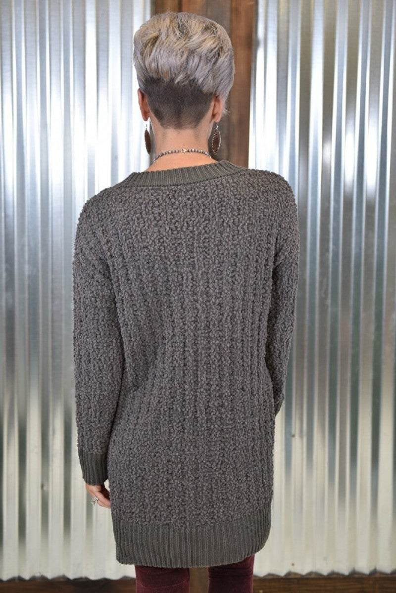 Mid-Grey Popcorn Sweater