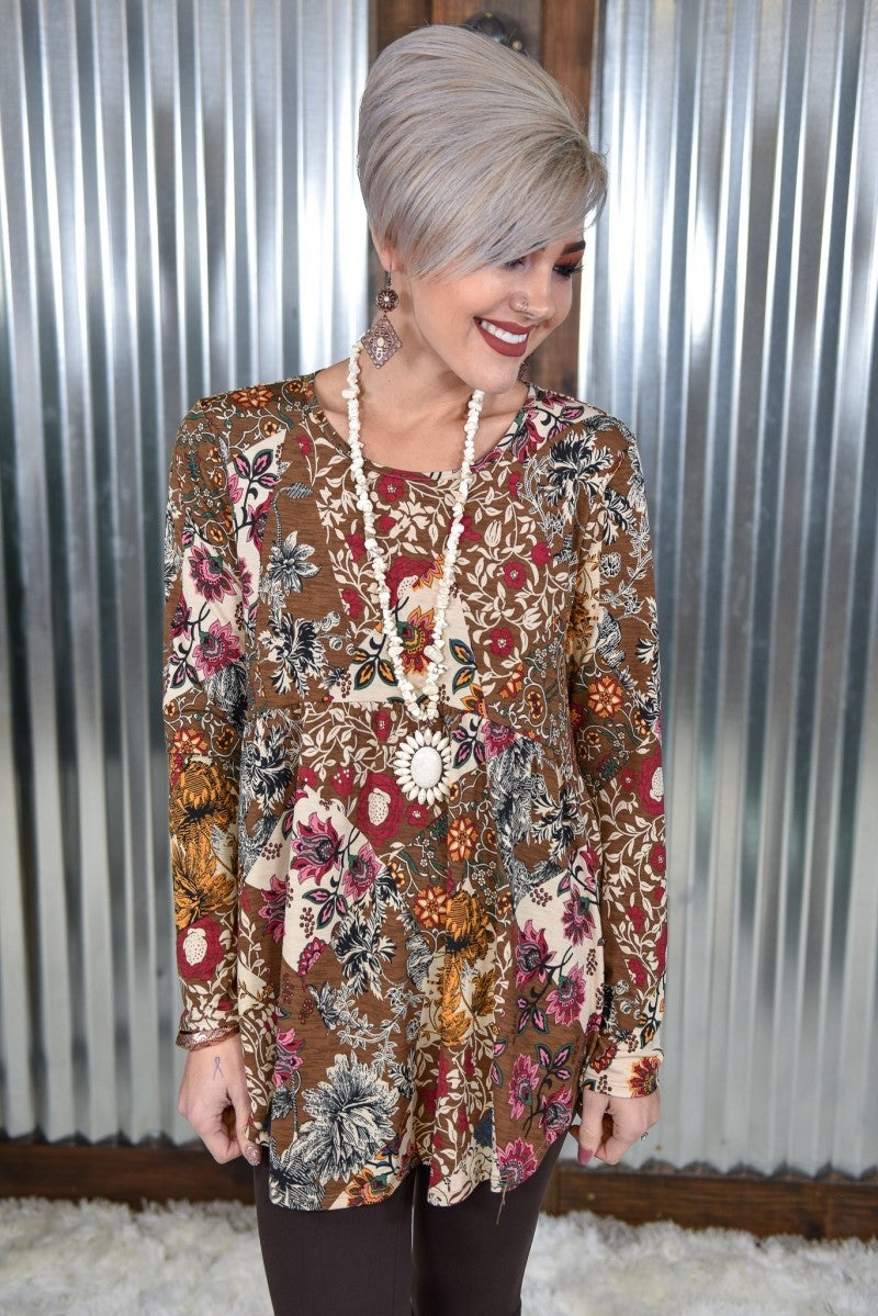 Geometric Floral L/S Empire Tunic