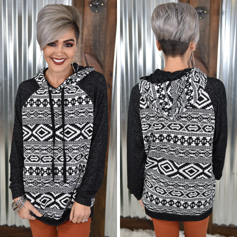 Black Aztec Hoodie *Final Sale*