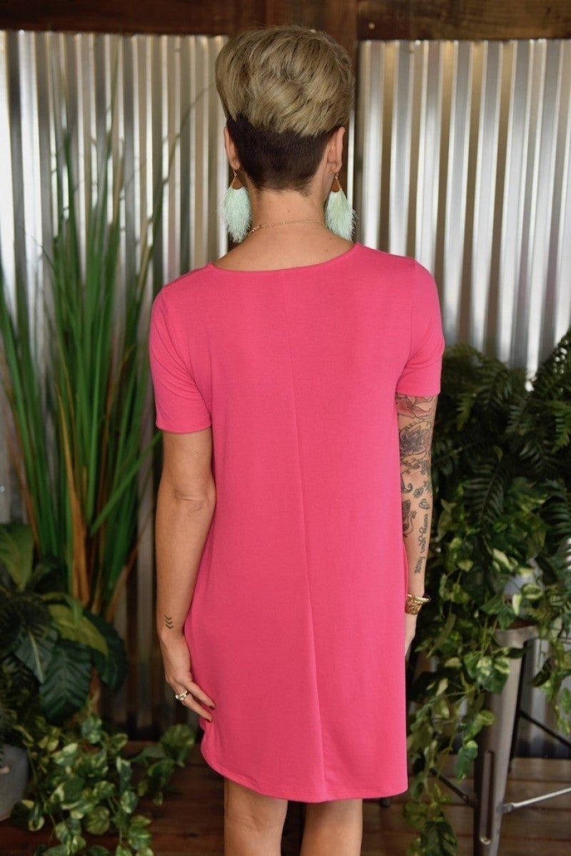 CLEARANCE Fuchsia Flared Top with Pockets