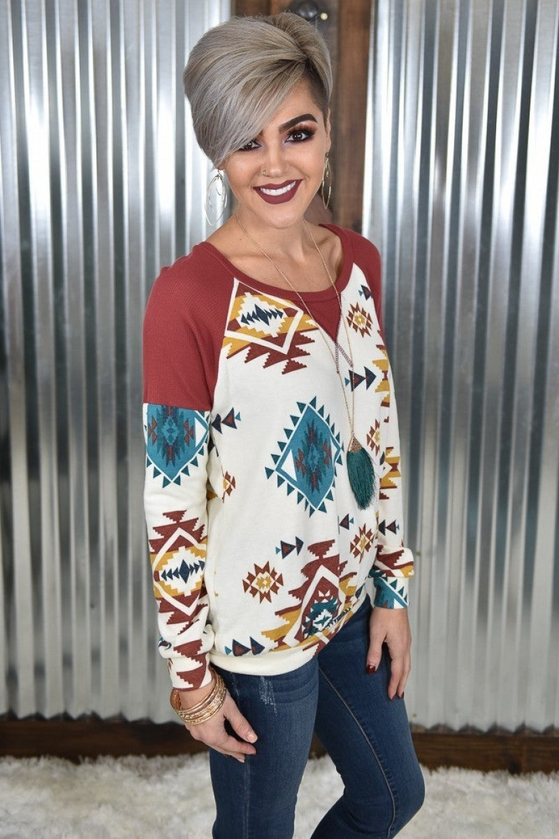 Ivory Southerwestern L/S Top *Final Sale*