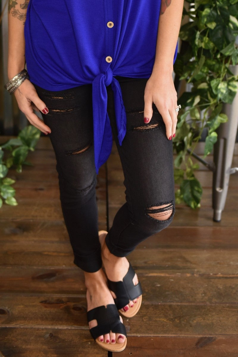 Black Distressed Denim Jeggings