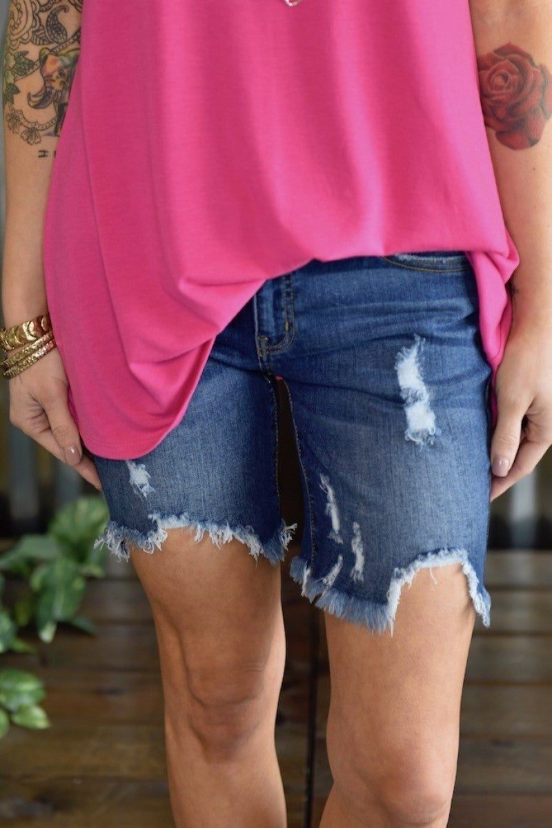 "Kan Can 7"" Frayed Shorts"