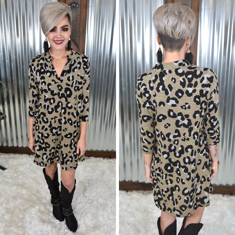 3/4 Sleeve Animal Dress
