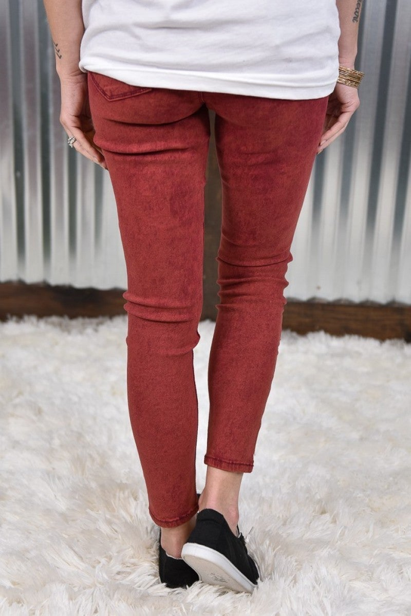 Garnet Acid Hyperstretch Skinny Pants