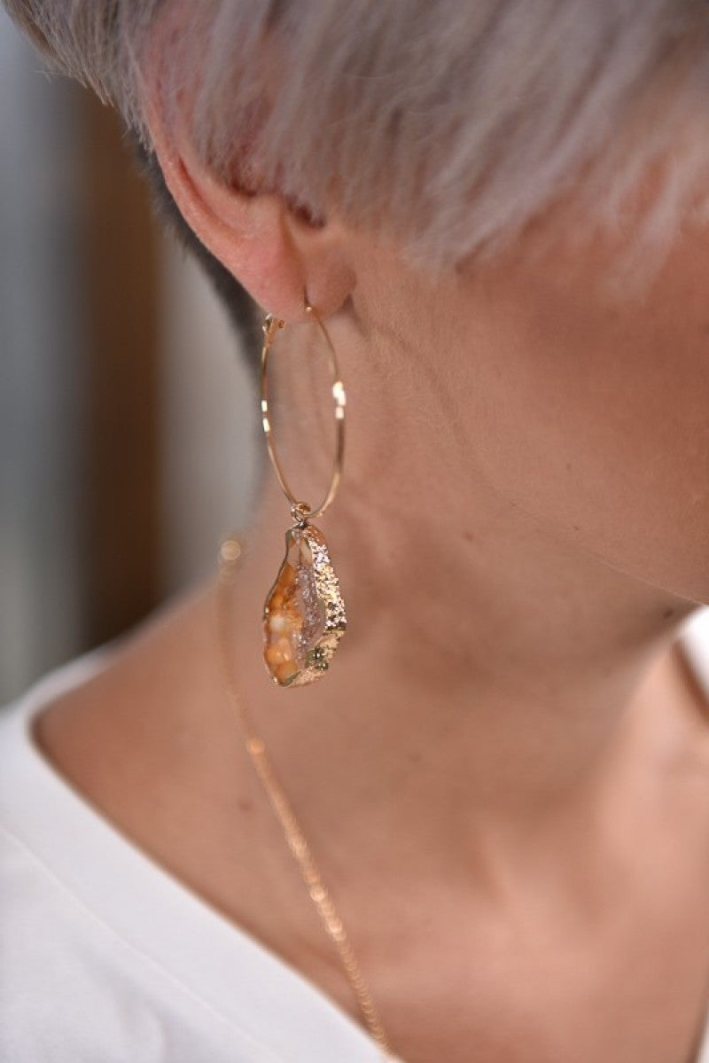 Orange Geode Hoop Earrings