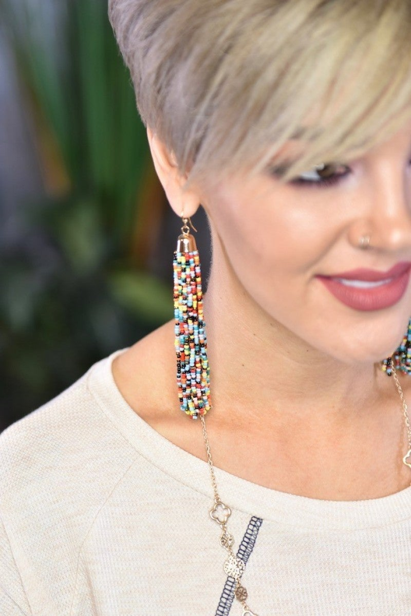 Multi Bead Tassel Earrings