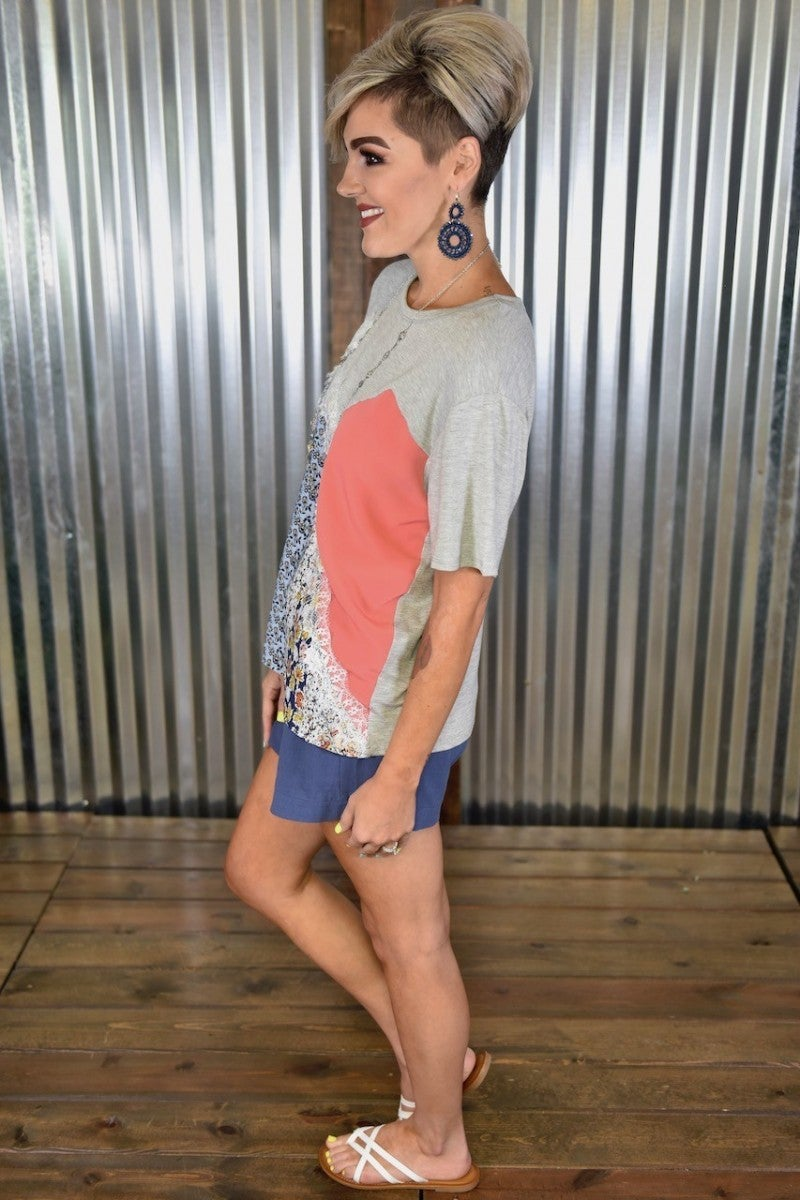 CLEARANCE Heather Grey Mix Colorblock Top