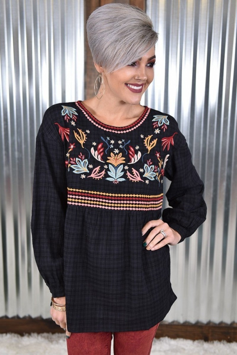 Black Embroidered Babydoll Top