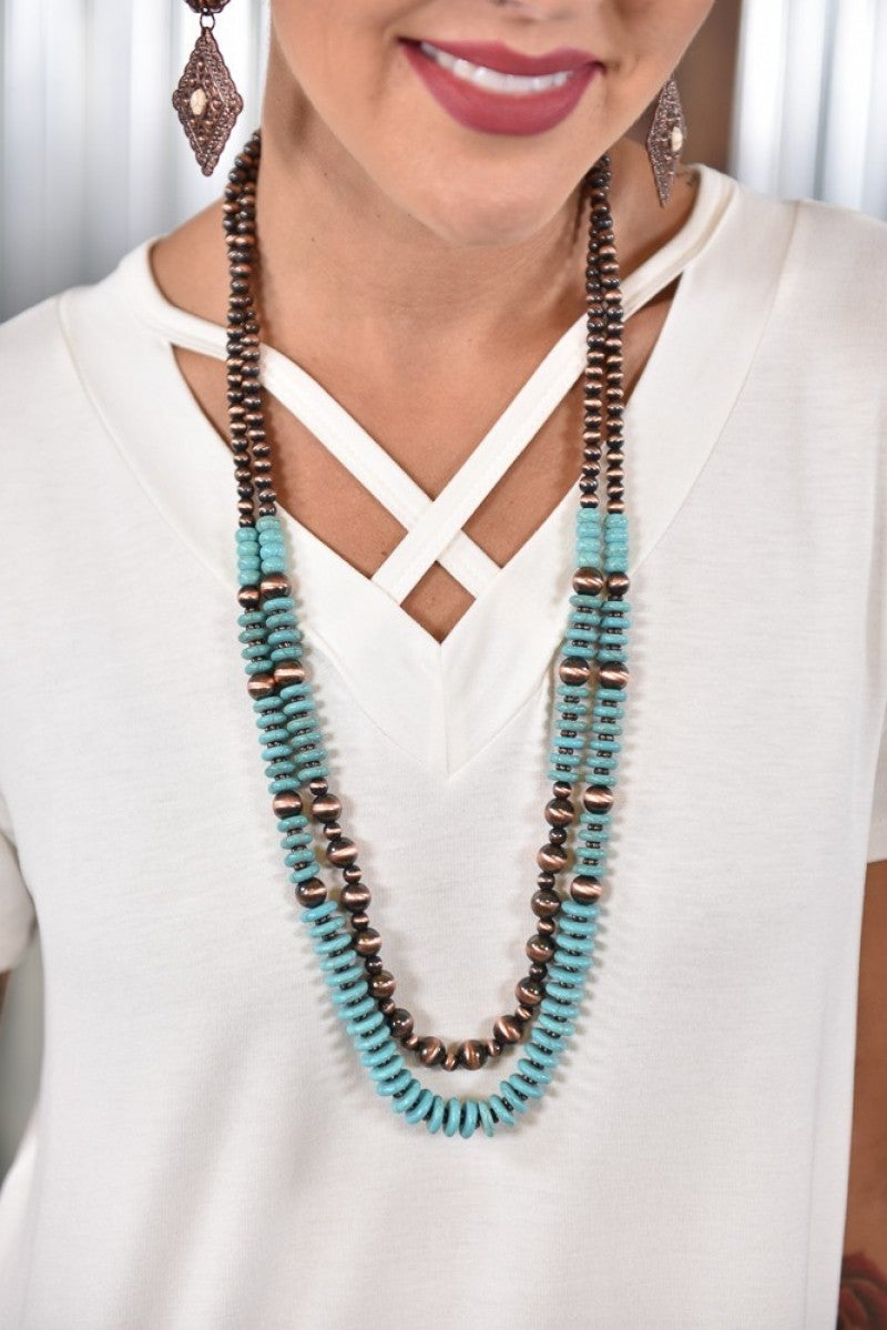 Turquoise & Copper Layered Necklace