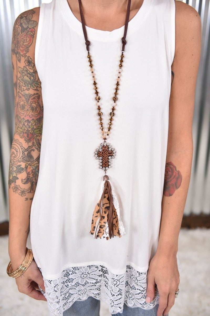 White Leopard Cross Necklace
