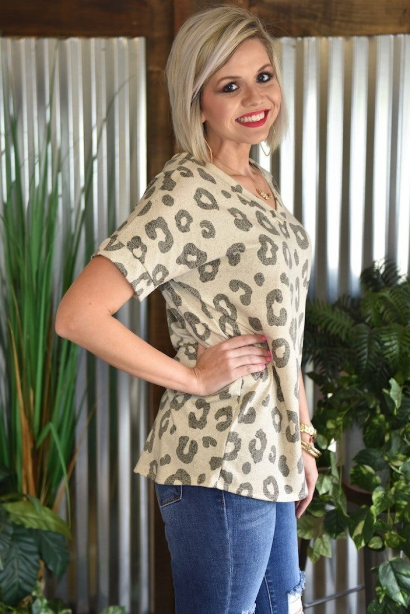 CLEARANCE Beige Casual Animal Top