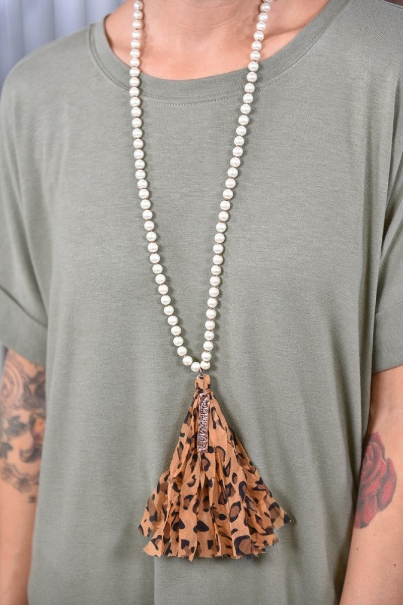 Pearl Leopard Blessed Tassel Necklace
