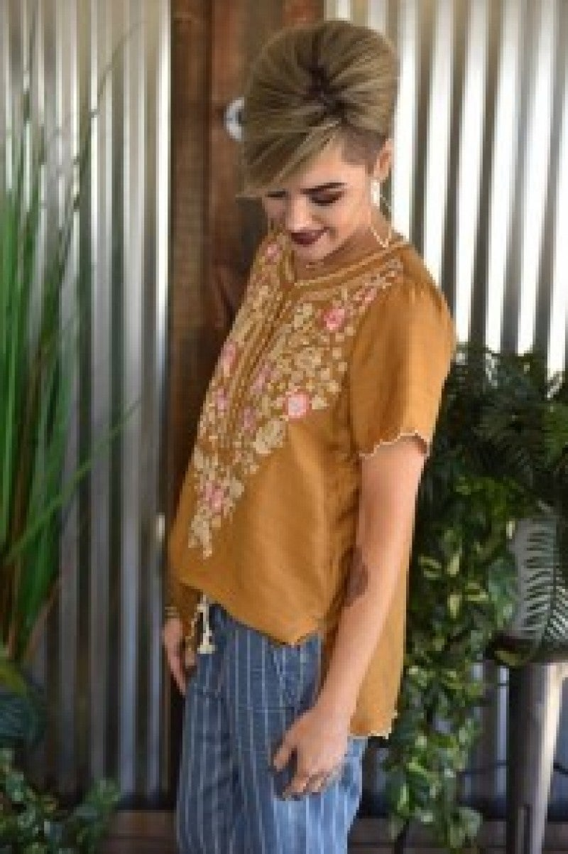 CLEARANCE Mustard Embroidered Scallop Botton Top