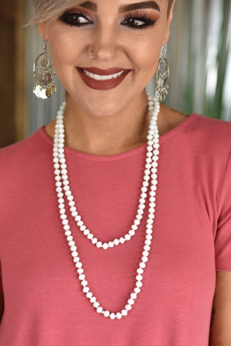 White Double Wrap Beaded Necklace