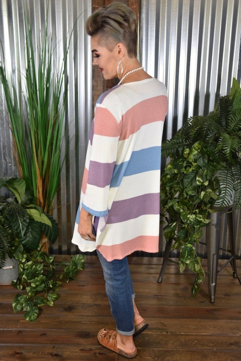 CLEARANCE Blue & Purple Striped Cardigan