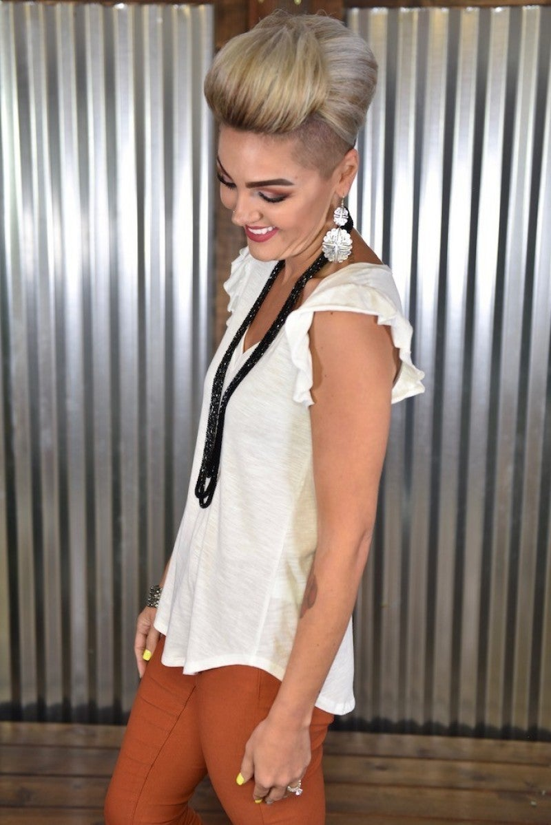 CLEARANCE White Ruffle V Neck Tank