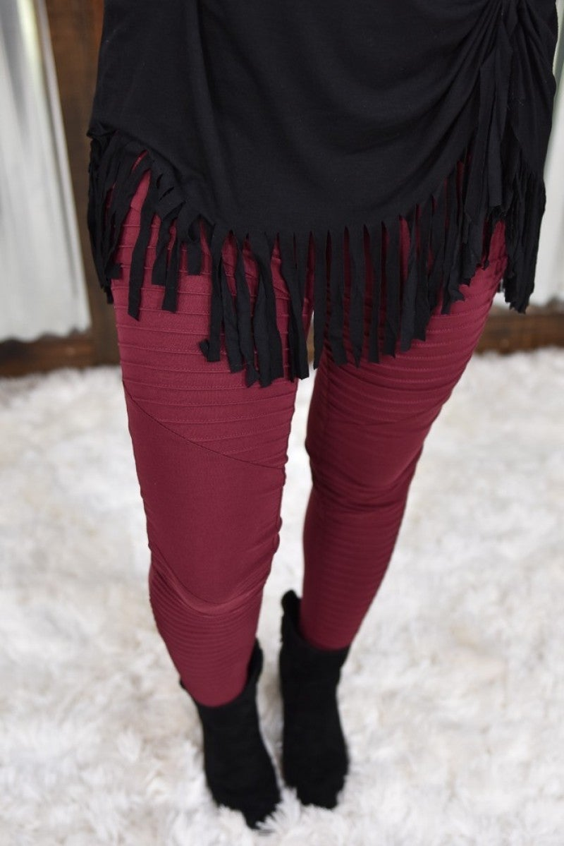 Wine Moto Leggings