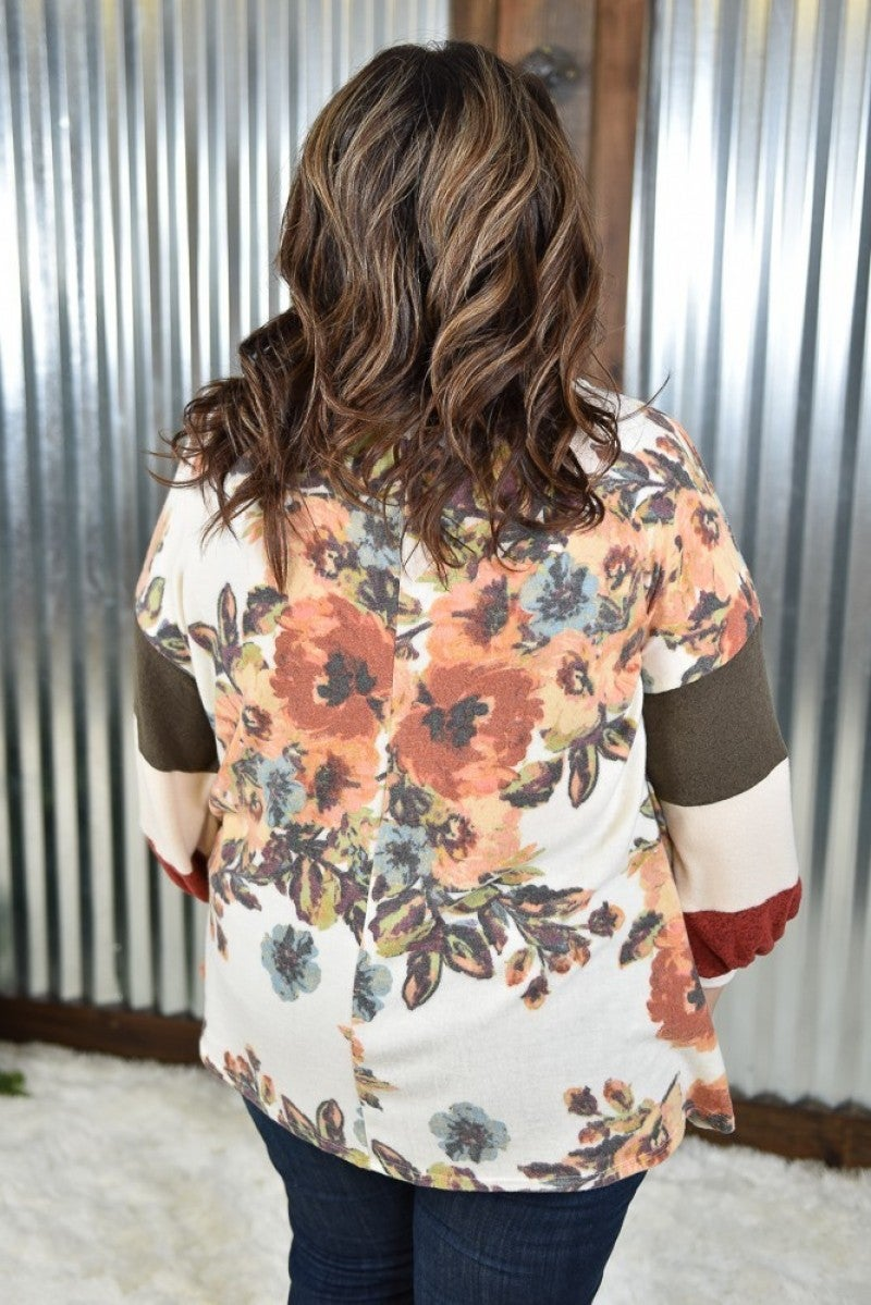 Ivory Floral Balloon Sleeve Top