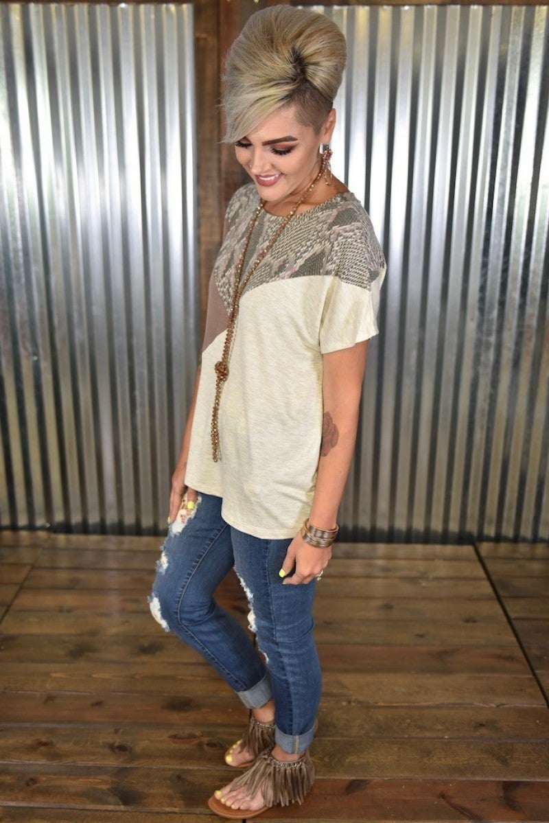 Taupe Python Colorblock Top