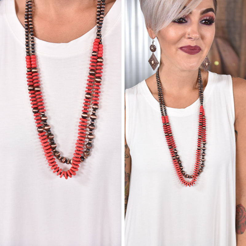 Red & Copper Layered Necklace